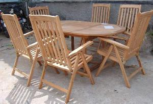 teak outdoor garden furniture teka dorset five position chair oval extension table 120 180x100x75cm