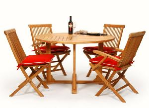 teka round dining folding chair arm table 120x120x74 cm teak garden outdoor furniture