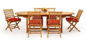 folding armchair four armrest oval extension table 120 180x90x75cm teak garden