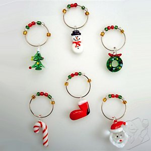 wholesale christmas glass wine charms