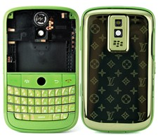 housing faceplate cover green metal star blackberry bold 9000