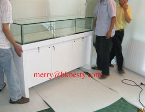 jewelry counter showcase display cabinet glass led light