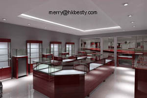 wood glass countertop jewellery display cabinet showcase led light jewelry showroom