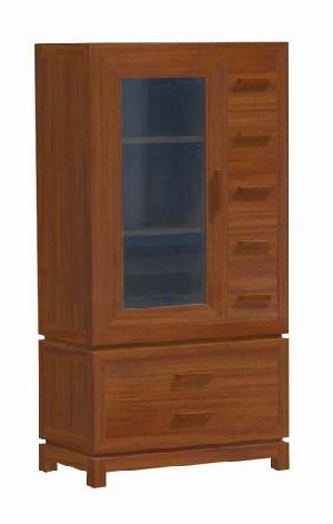 cabinet glass door seven drawers teak mahogany kiln dry wooden indoor furniture solid