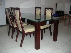 jogja leather dining chairs table mahogany teak wooden indoor furniture