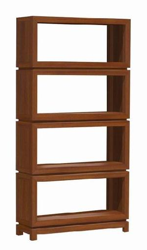 minimalist modern bookcase four shelves teak mahogany wooden indoor furniture kiln dry solid