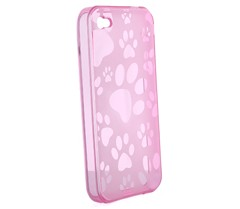 dog paw pattern silicone skin case cover iphone 4 pink