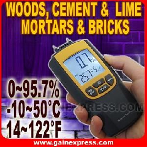 moisture temperature meter celsius fahrenheit wood cement bricks