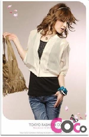 beige chiffon blouse korean zipper jacket