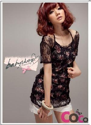 rose printed pieces lace sun blouse