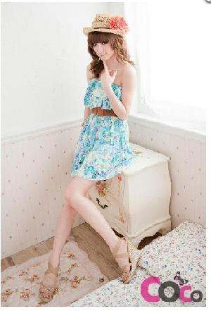 cotton short shoulder frill summer dress
