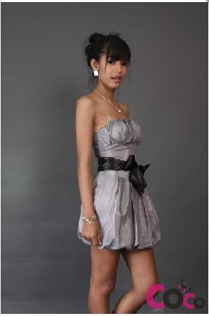 gray facade thai silk mini tube dress