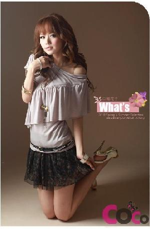 grey fashion shoulders lotus leaf blouse