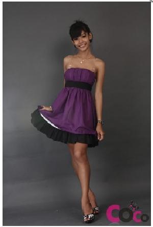 purple cotton party tube dress ribbon