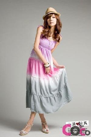purple dyed elasticity summer beach maix dress