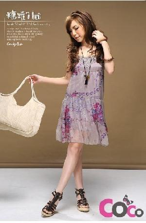purple lace collar slip lady silk dress