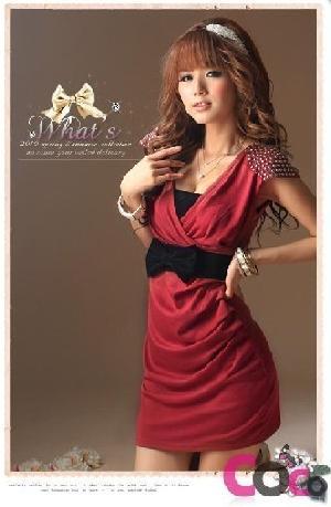 v collar paillette ruffled korean dress