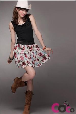 cotton floral short summer flimsy skirt