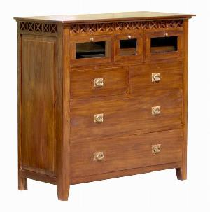 mahogany teak dresser five drawers borneo cabinet wooden indoor furniture solid