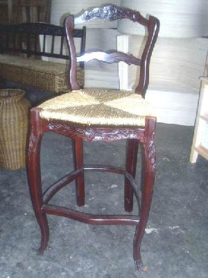 mahogany woven bar dining chair wooden rattan indoor furniture