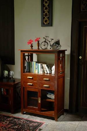 spain bookcase open four drawers teak mahogany wooden indoor furniture java