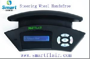 bluetooth handsfree car kit rearview mirror steering wheel solar tts speaker