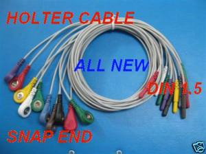 holter cable 10 leadwires din 1 5 tpu 0 9m snap clip