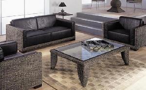 dark brown minimalist woven sofa living waterhyacinth cirebon java indonesia