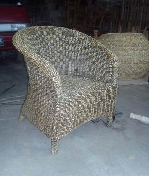 dining armchair bonsu sea grass gliss brown woven rattan indoor furniture java indonesia