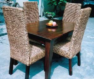 flat waterhyacinth dining gliss brown mahogany table woven chairs cirebon java indonesia