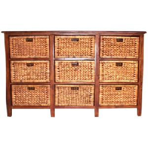 mahogany cabinet nine waterhyacinth drawers wooden woven rattan indoor furniture