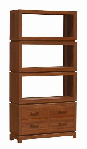 minimalist open bookcase four drawers modern mahogany wooden indoor furniture java