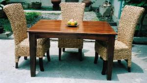 queen waterhyacinth woven dining set mahogany table chairs rattan indoor furniture indonesia - Woven Dining Room Chairs