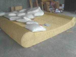 rattan woven boat bed bedroom hotel apartment java indonesia
