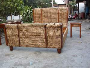 waterhyacinth bed solo java indonesia wooden woven rattan indoor furniture