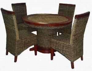 woven waterhyacinth round dining rattan furniture table chair cirebon java indonesia