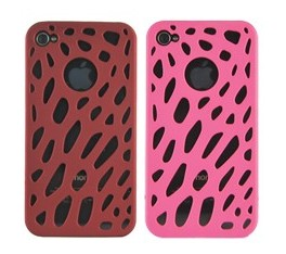 luxe hole hard plastic case cover iphone 4 pink