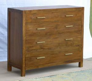 mahogany dresser four drawers minimalist teak wooden indoor furniture java indonesia
