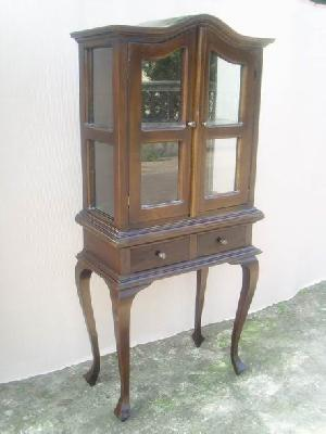 java vitrine cabinet glass door teak mahogany wooden indoor furniture antique repro