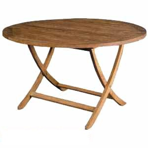 round folding table curve legs teak wooden garden outdoor furniture