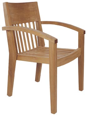 tokyo curve arm stacking dining chair teka teak wooden garden outdoor furniture