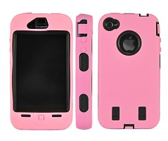 rugged hard plastic case iphone 4 pink