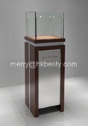 lines octagon showcase case 2 glass shelve