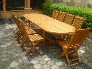 teka octagonal extension table 240 300x100x75 cm teak wooden outdoor garden furniture