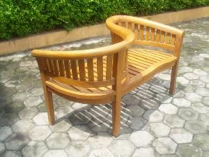 curve seater banana peanut bench teak teka outdoor garden furniture