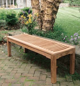 New Teka Garden Bench Two Seater Without Back Rest Teak Outdoor - Teak patio bench