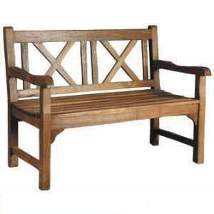 Teak Cross Back Bench Two Seater Knock Down Teka Wooden Garden Outdoor Furniture Andana