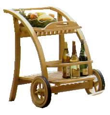 teak curve trolley tea table teka outdoor garden furniture