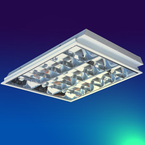 stainless reflector recessed fluorescent louver fixture