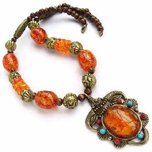 tibetan yak bone amber amulet necklace